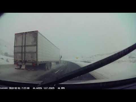 Interstate 84 Oregon Winter Driving Transport Truck near flip