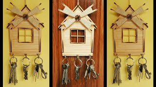 Wall Hanging Key Chain Holder | Handmade Home Decor Wall Showpiece | Diy Popsicle Craft Decoration