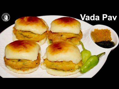 Vada Pav Recipe with Homemade Bread Without Oven - Batata Vada Pav Mumbai Indian Street Food Recipe thumbnail