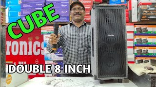 BHARAT ELECTRONICS BEST TROLLEY SPEAKERS DOUBLE 8 INCH CUBE PRICE-5800 WITH CODELESS MIC