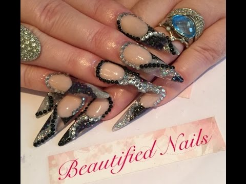 Acrylic Nails Black And Silver Stiletto Sculpted