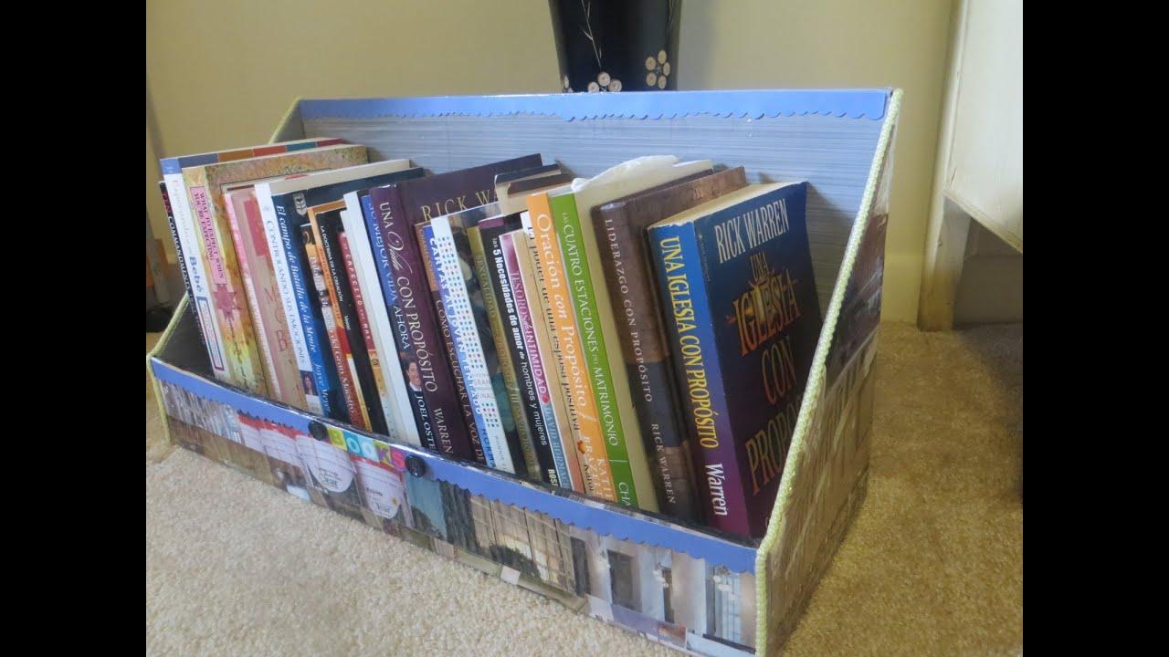 Organizador para libros y cuadernos reciclando cart n y - Manualidades en carton ...