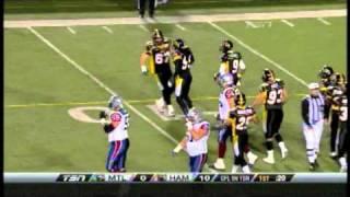 Stevie Baggs intercepts Anthony Calvillo - October 22, 2010