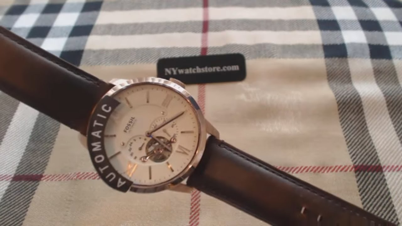 Mens Fossil Townsman Automatic Skeleton Watch Me3105 Youtube Gratis Ongkir Me3064 Brown Leather Strap