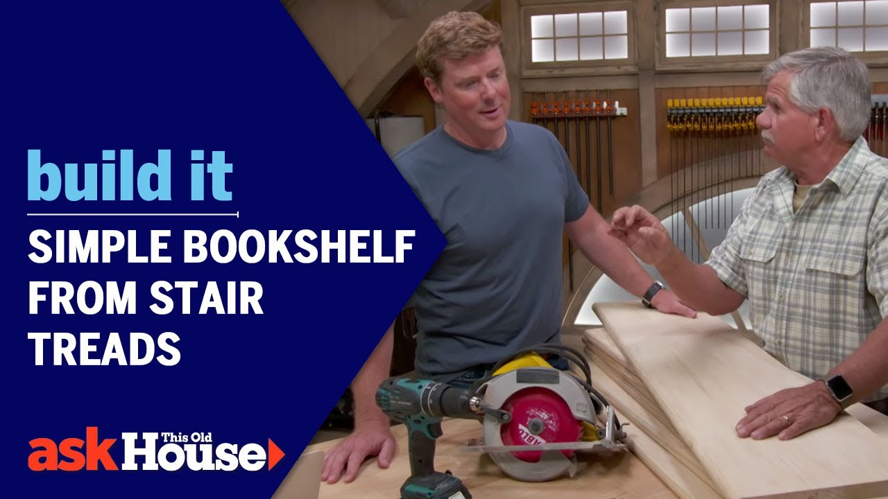 Build It | Simple Bookshelf From Stair Treads   YouTube