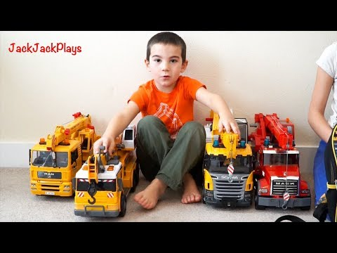 Pretend Play Fishing with Crane Trucks: Kids Playing with Bruder Toys