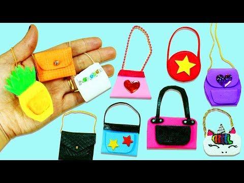 MINIATURE CRAFTS: 10 DIY Barbie Doll Miniature Purse, Handbag, Bag   - simplekidscrafts