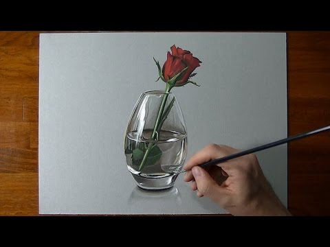Drawing Time Lapse: a red rose in glass vase