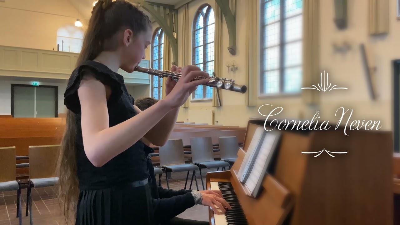 Download Cornelia Neven, 10 jaar, dwarsfluit, Aria uit Sonata for 2 Violins and continuo