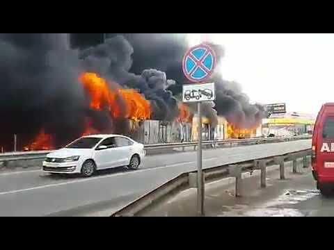 Очень сильный пожар на рынке в Пятигорске. 30.04.2019