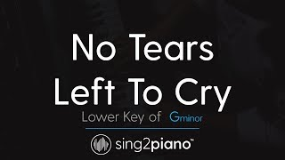 "No Tears Left To Cry (Lower ""Gm"" Piano Karaoke) Ariana Grande"