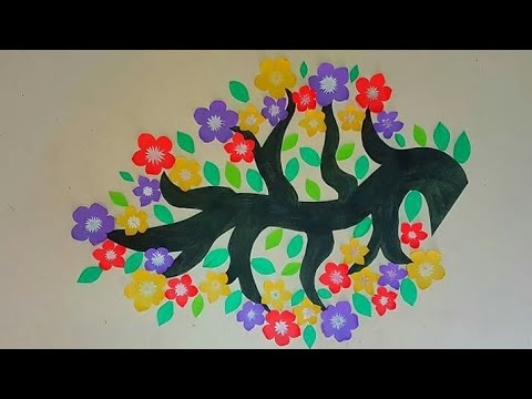 DIY home decor 💜 beautiful flowers wall decoration 🌹 with colour ...