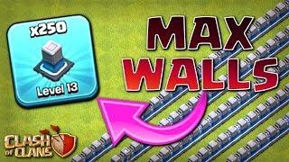 250x MAX WALLS!  TH12 Farm to Max | Clash of Clans