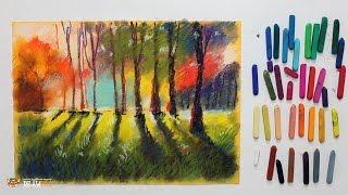 """Курс рисования """"Сухая пастель"""" Начинающие. Урок 5-3. Лесной пейзаж"""