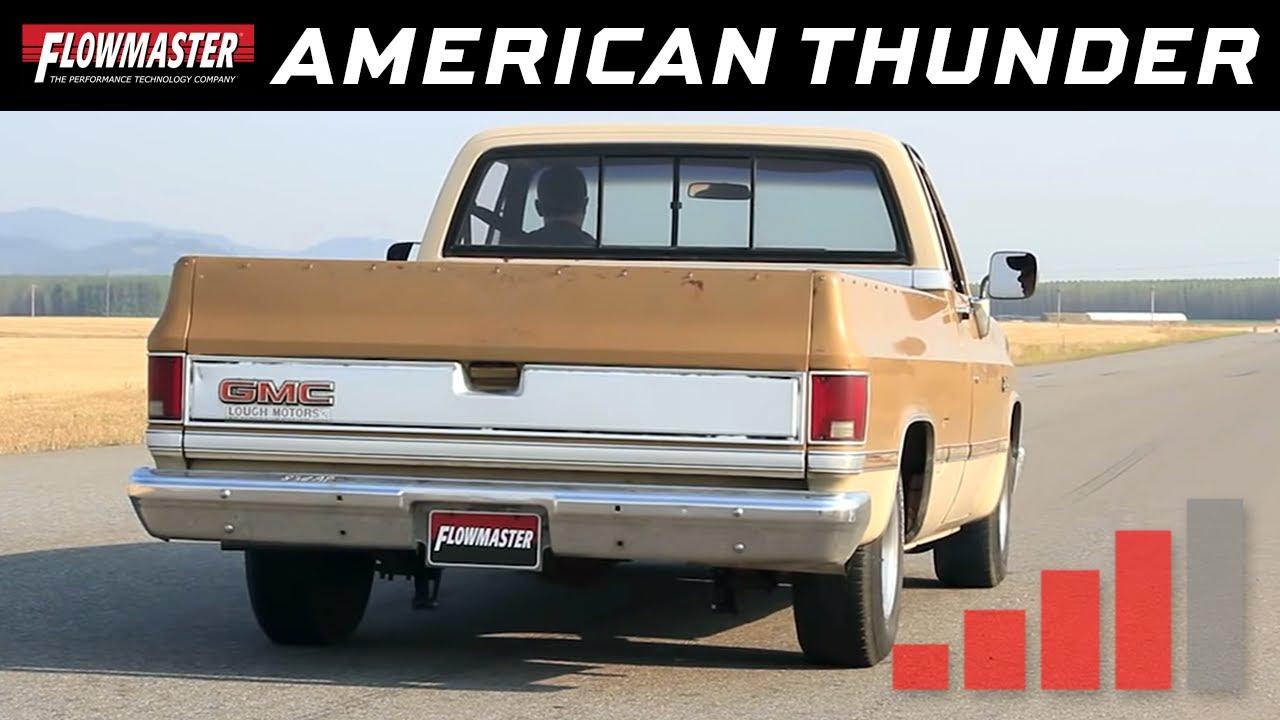 flowmaster american thunder crossmember back exhaust system 73 87 gm c10 c20 17742 [ 1280 x 720 Pixel ]