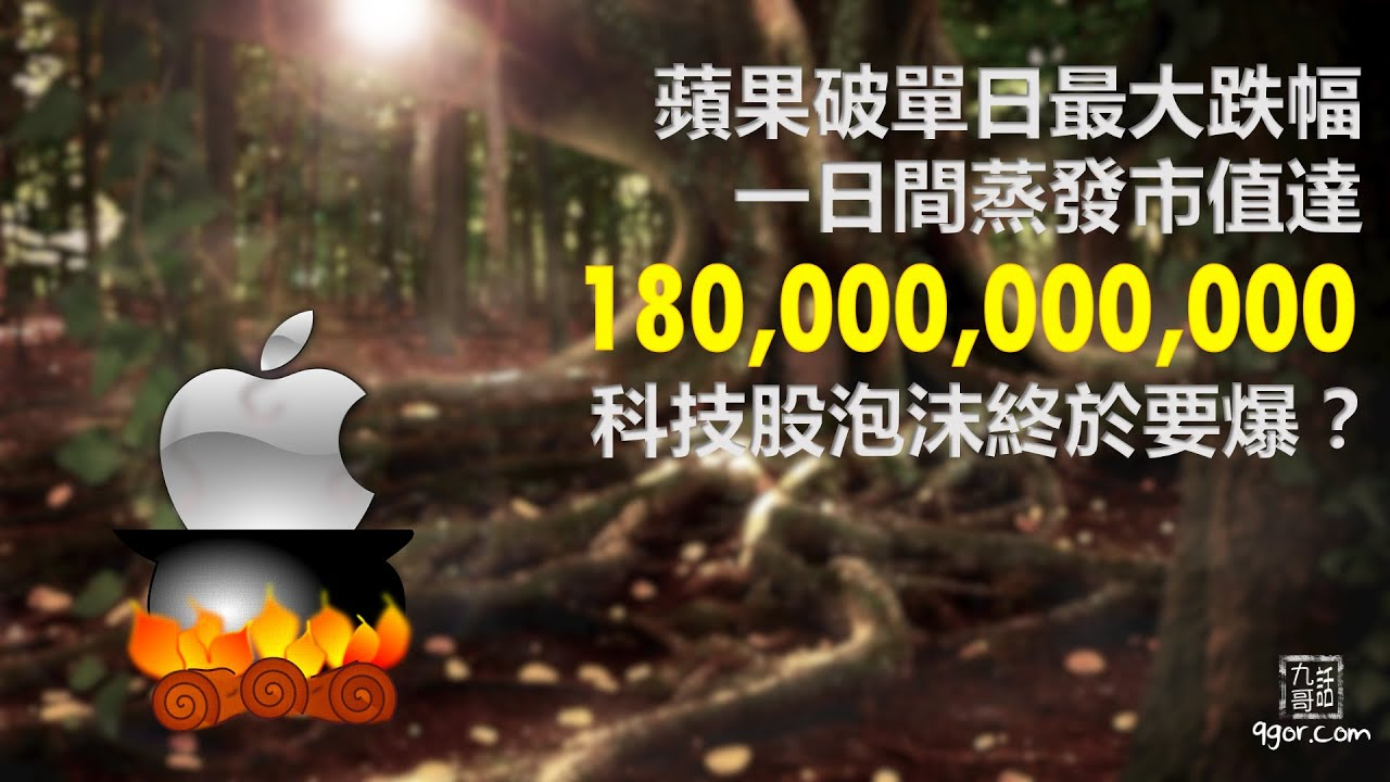 200906 九哥周報:蘋果破單日最大跌幅,一日間蒸發市值達1800億,科技股泡沫終於要爆?