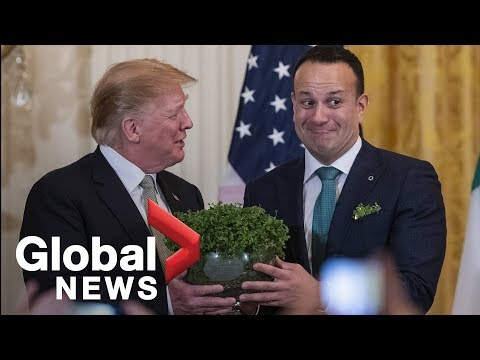 LIVE: Trump presented with Shamrock Bowl Irish Taoiseach