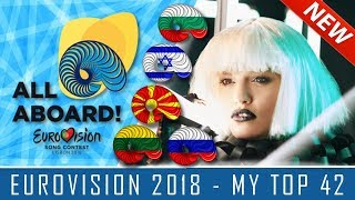 EUROVISION 2018 - MY TOP 42 (so far) with COMMENTS!