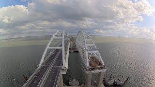 A homemade drone  flew along the Crimean bridge.