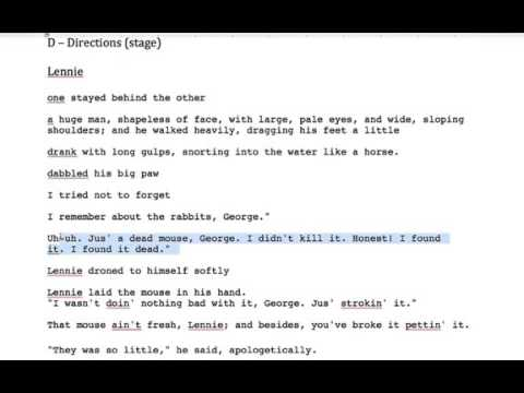 Of Mice and Men - Lennie, Key Quotes - Section 1 - YouTube