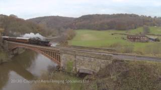 Severn Valley railway, 1501 and Erlestoke Manor crossing Victoria bridge from an F550