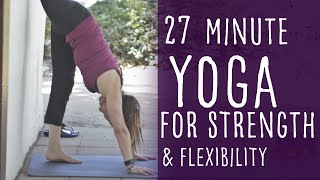 Video 27 Minute Vinyasa Yoga for Strength and Flexibility with Fightmaster Yoga download MP3, 3GP, MP4, WEBM, AVI, FLV Maret 2018