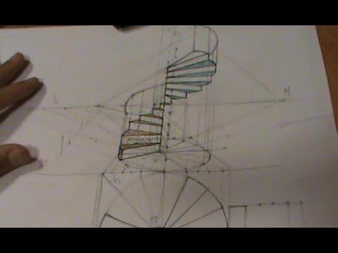 Escalera de caracol con pasamanos en perspectiva c nica - Escalera en espiral ...