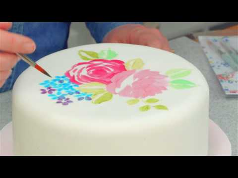 How To Paint A Rose Design On A Cake