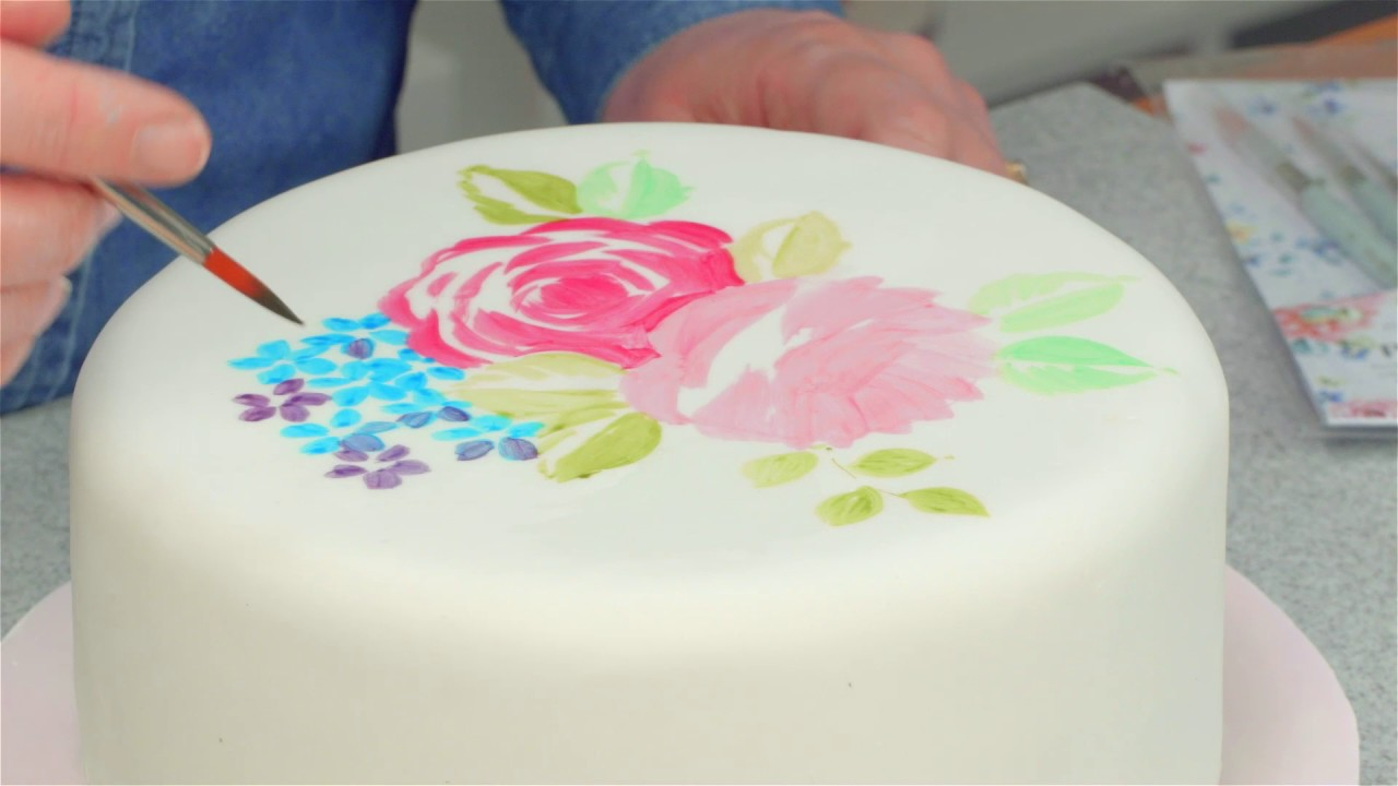 How To Paint A Rose Design On A Cake Youtube