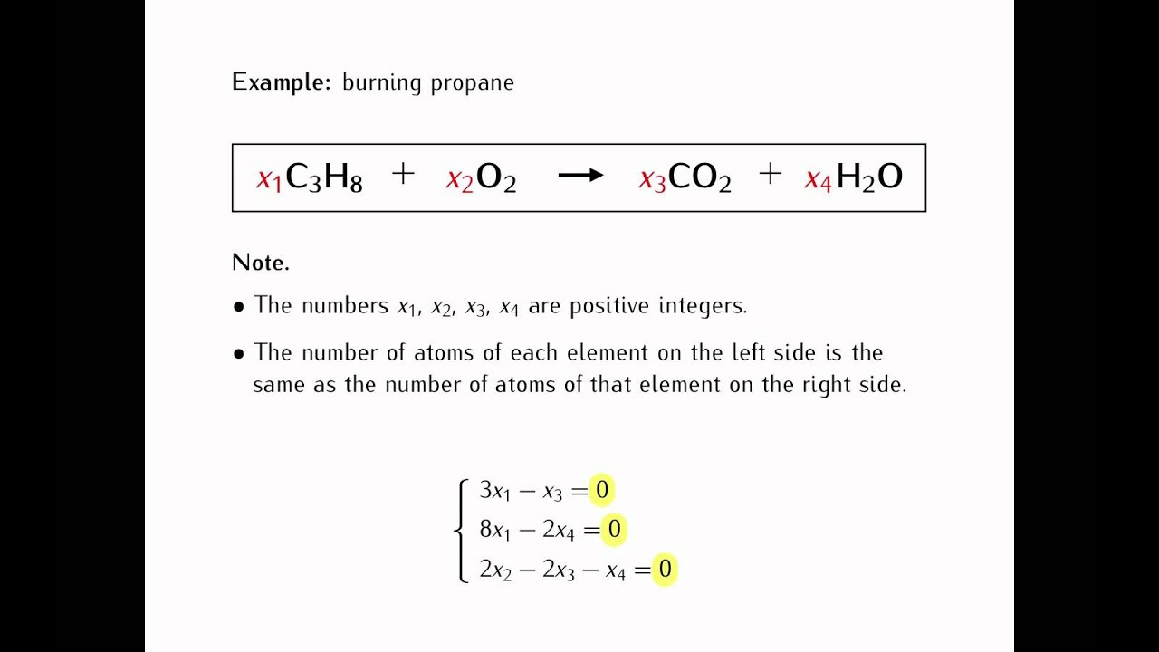 Application of linear equation in chemical