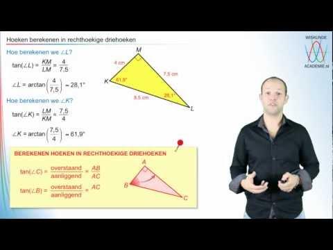 Tangens - hoeken berekenen in rechthoekige driehoeken - WiskundeAcademie