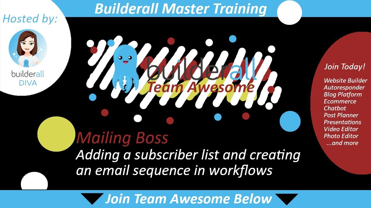 Builderall Master Training:  Adding a Subscriber List and Creating an Email Sequence Using Workflows
