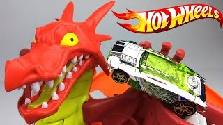 HOT WHEELS DRAGON BLAST PLAYSET - MULTILEVEL SET WITH MOVABLE LAUNCHER AND POP-UP DRAGON - UNBOXING