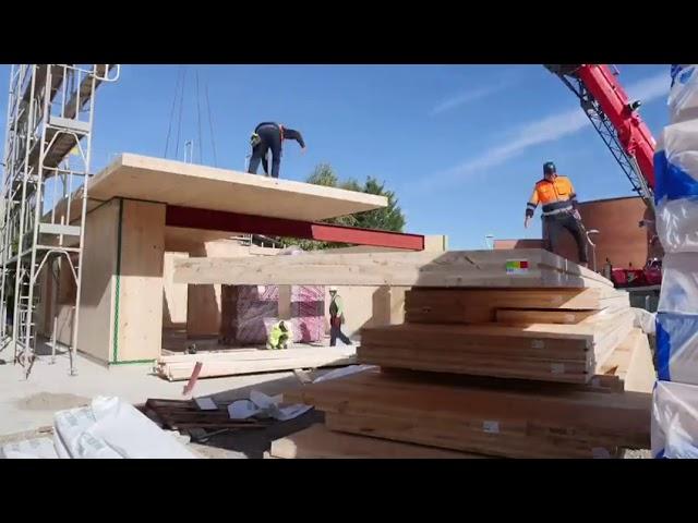 Día 3 construcción casa madera CLT Barcelona