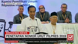 Jokowi: Satu Memang yang Diperebutkan untuk RI 1 | Penetapan Nomor Urut Pilpres 2019
