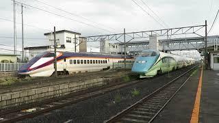 2018年08月26日 奥羽本線 赤湯駅を発車するトレイルつばさ号