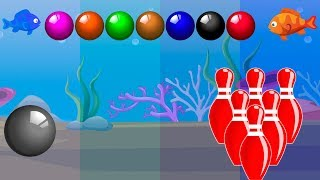Underwater Bowling Learn Colors with Colorful Snooker Balls Finger Family Song Rhymes for Kids