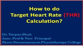 How to do Target Heart Rate(THR) calculation