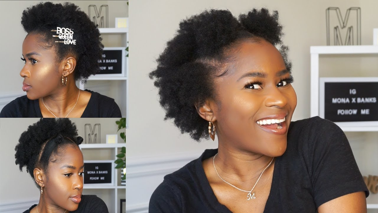 4 Super Quick On The Go Hairstyles Without Using Gel On Short 4c Natural Hair Mona B Youtube