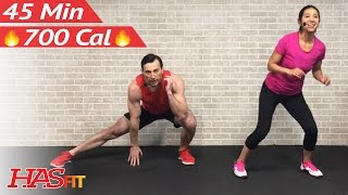 45 Minute Tabata Cardio HIIT Workout No Equipment - Bodyweight HIIT Full Body Workout at Home