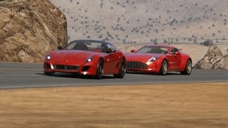Battle Aston Martin One-77 vs Ferrari 599 GTO at Black Cat Country