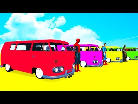Thumbnail: LEARN COLORS Big BUS for kids with Spiderman Superheroes Cartoon for babies