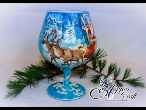 Decoupage Tutorial - Christmas Tea Light Holder