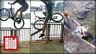 Bike-Fail: 2000 Euro-Fahrrad fällt in Rhein bei Köln (Epic / Ultimate / Dollar / Trial / Schwimmen)