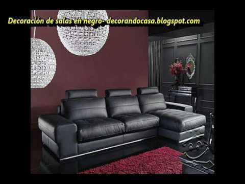 Decoraci n de salas en color negro youtube for Color de pared para muebles blancos