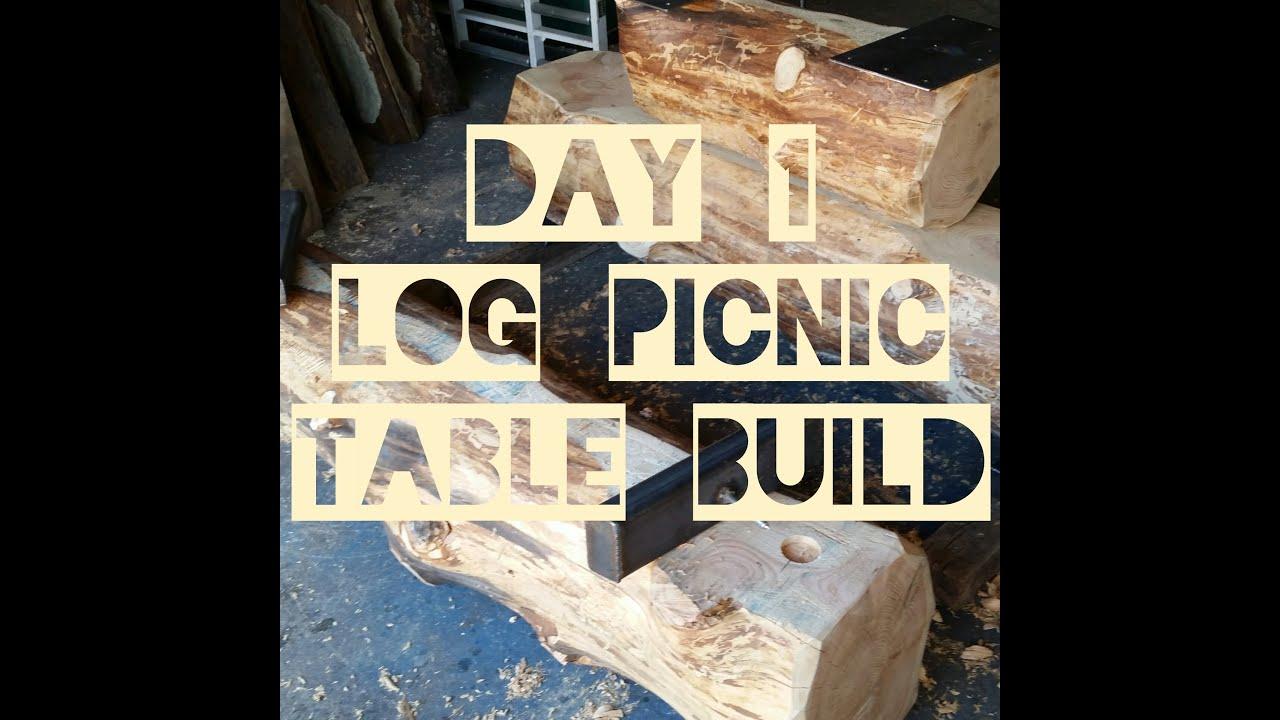 Log Picnic Table Build Day 1