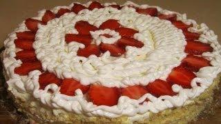 Торт с клубникой! Торт Песочный рецепт с клубникой. Торты рецепты Выпечка кулинария