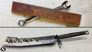 Making a Sword: Old Leaf Spring and Wrench into a Giant Cleaver