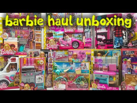 Barbie Haul Toys Review - Bike, Made to Move, Ken Clothes, Dollhouse Furniture BBQ For Kids Video