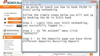 How to Open Recurring Deposit RD Account In ICICI Bank Online